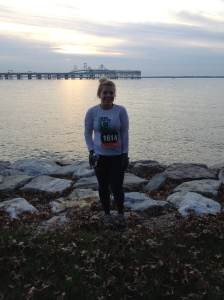 Here I am before running across the Bay Bridge in the Across the Bay 10K. This is on the western shore side, if you can't tell. (Veronica James photo)