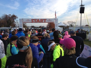 I don't usually have my phone with me during runs, but I did today, so I snapped this photo at the start, before our wave kicked off. (Vanessa Junkin photo)