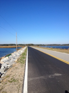 I enjoyed running on this road with water on both sides on Beach Road, going away from the beach. (Vanessa Junkin photo)