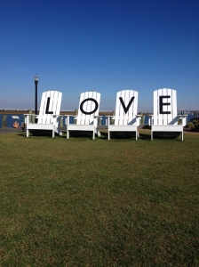 "These chairs, spelling out the word ""LOVE"" were at Robert Reed Waterfront Park on Main Street in Chincoteague Island. (Vanessa Junkin photo)"