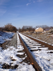 I saw this view of a-little-bit-snowy railroad tracks during my run in Hampstead, Maryland, on Saturday.