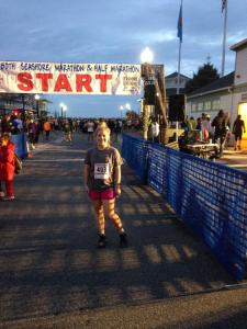 Here I am ready to start the Rehoboth Beach Seashore Marathon. (Alesia Hull-McLaughlin photo)