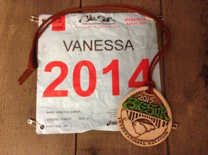 Here are my personalized race bib and the medallion I received for finishing. (Vanessa Junkin photo)