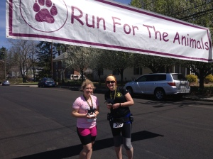 I met Sara Headrick, who ran the 10K, at the Run for the Animals. I'm on the left in the photo. (Vanessa Junkin photo)