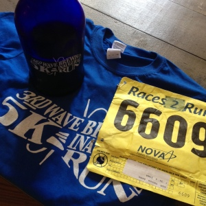 Here are my growler, shirt and bib from the 3rd Wave Brewing Co. 5K. (Vanessa Junkin photo)