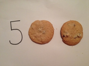 "It's fun to celebrate my milestones with food. Chocolate chip cookies make up the zeroes in my ""500."" (Vanessa Junkin photo)"