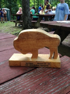 Here's my award from the Great Wyoming Buffalo Stampede 10K, for third place in my age group. (Vanessa Junkin photo)