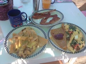 The Loco Leprechaun and Greek omelets that we ordered from the Bayside Skillet are shown here. (Vanessa Junkin photo)