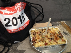 This year's Dogfish Dash logo, which was on this bag, a race T-shirt and the stainless steel pint glass, was a race bib with 2015 on it. It's shown by a delicious mac and cheese dish that I had at grandpa (MAC) in Rehoboth Beach. (Vanessa Junkin photo)