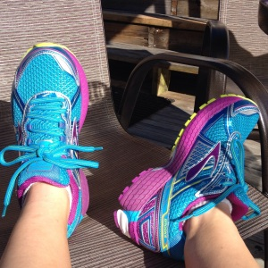 These are my new shoes after my first run in them this week. I stuck with my go-to Brooks Adrenaline, but I love the colors! (Vanessa Junkin photo)
