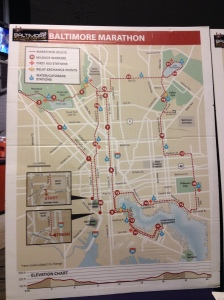 Here's a photo of the Baltimore Marathon map, which I took at the race expo, where I picked up my bib and race shirt. (Vanessa Junkin photo)