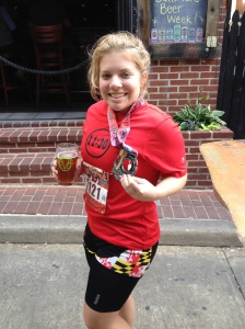 Here I am outside Abbey Burger Bistro after finishing the 2015 Baltimore Marathon, with my medal. (Michael Piorunski photo)