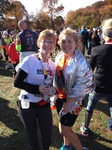Here I am with my mom (at left), who also finished the Across the Bay 10K on Sunday. (Paul Renda photo)