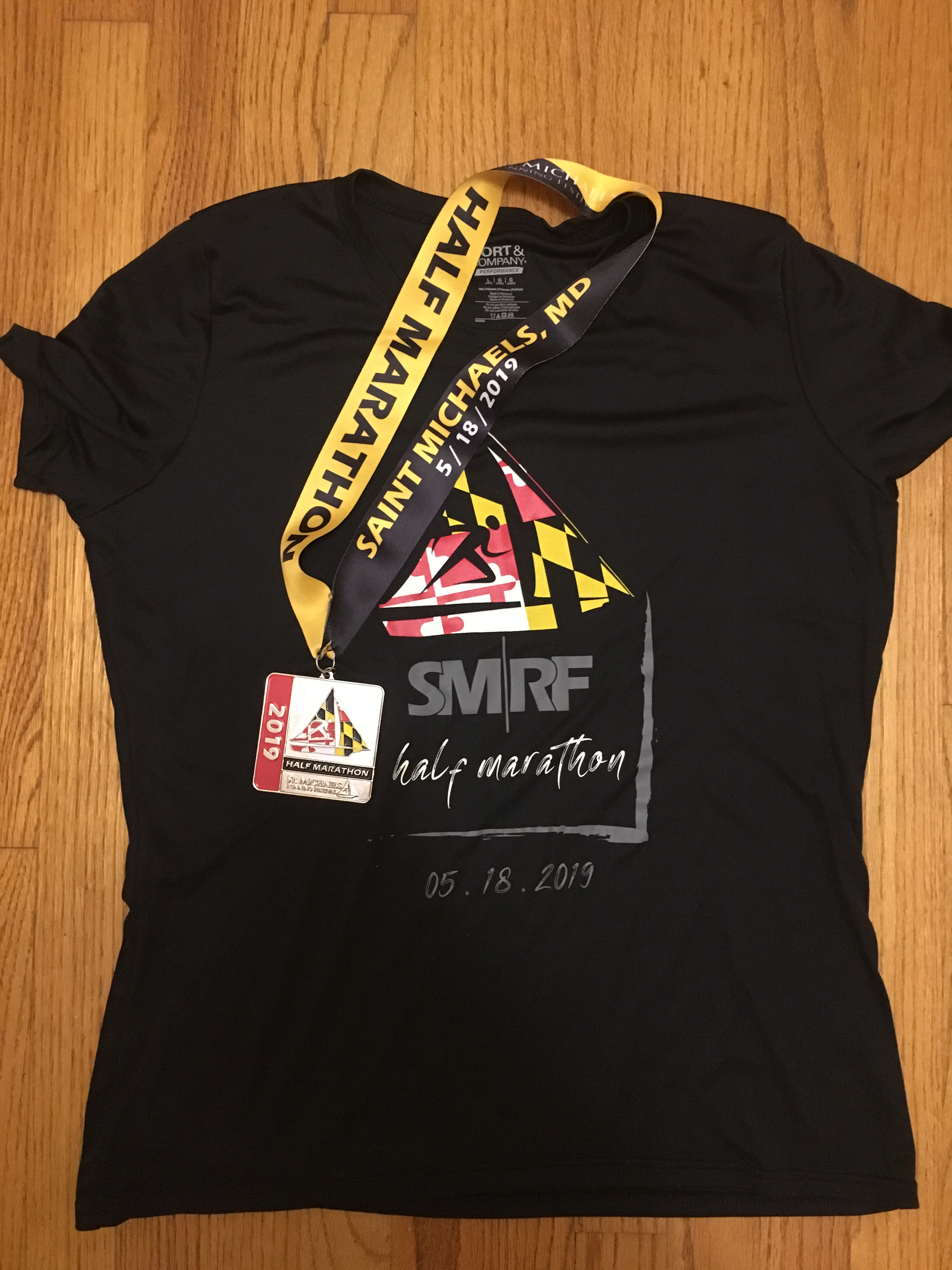 St. Michaels Running Festival Half Marathon race shirt and finisher medal