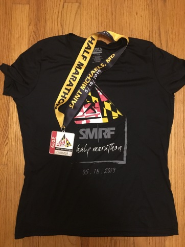 St. Michaels Running Festival Half Marathon race shirt and finisher medal