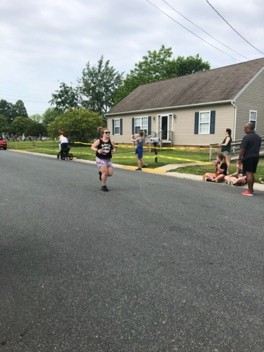 Vanessa Junkin heading toward the finish of the St. Michaels Running Festival Half Marathon