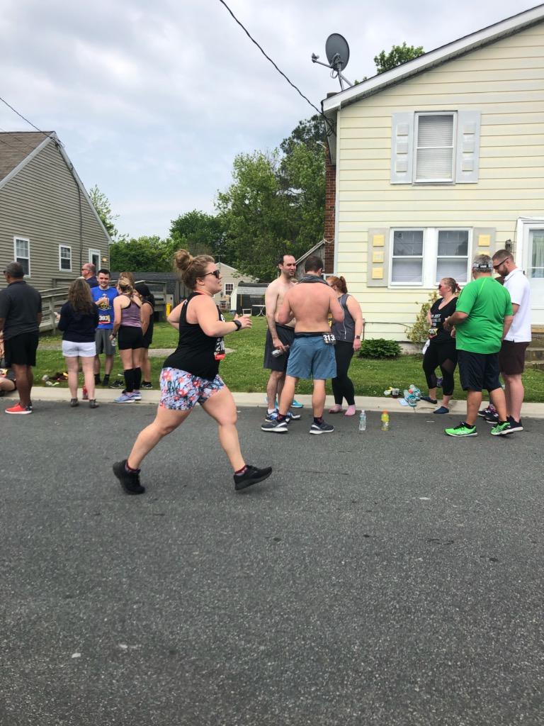 Vanessa Junkin heading toward the finish of the St. Michaels Running Festival Half Marathon (side view)