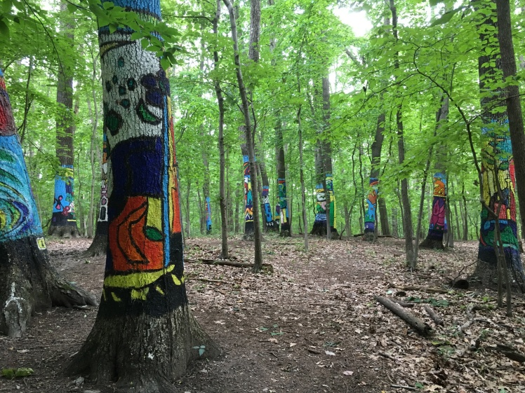 Numerous painted trees in horizontal photo.