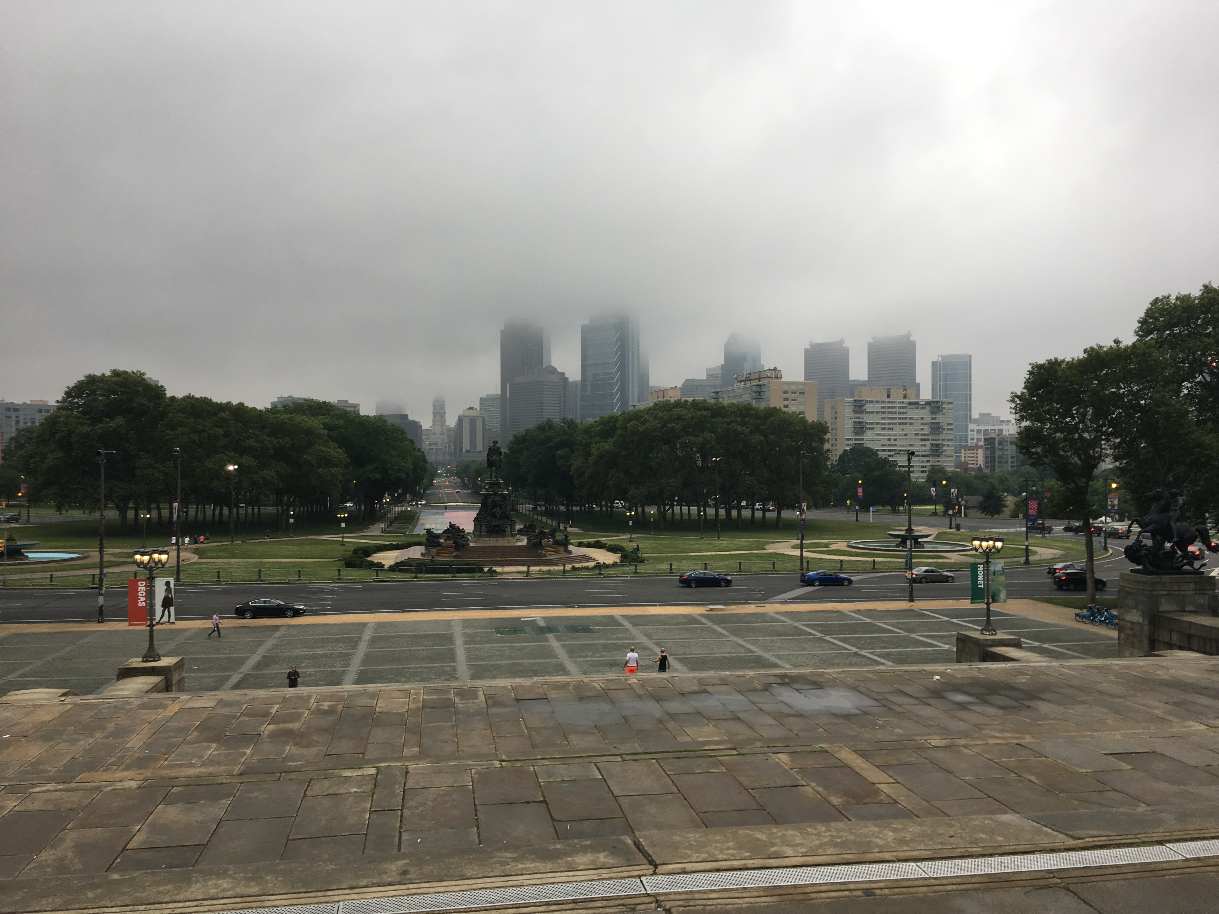View of the Philadelphia skyline from top of steps at Philadelphia Museum of Art.