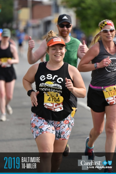 Race photo showing Vanessa Junkin running during the event.