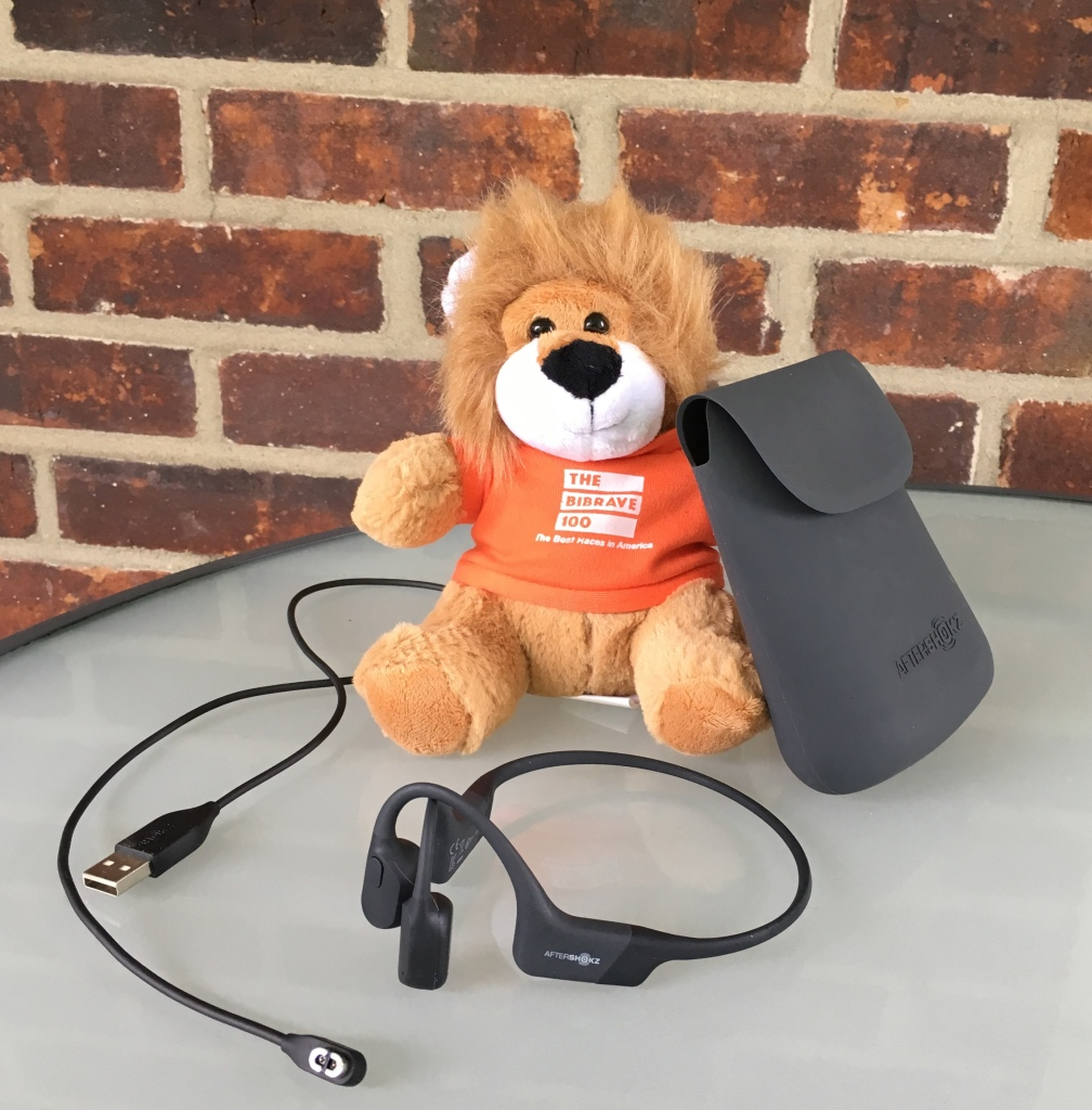 Benjamin, The BibRave 100 mascot, posed with the AfterShokz Aeropex, charging cord and case against a brick background.