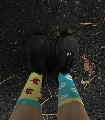 Picture of Vanessa's bacon and egg socks. The left sock has bacon on it, and the right sock has eggs on it.