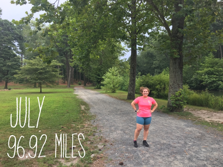 """Vanessa Junkin stands on a flat trail at the Salisbury City Park. The photo also has text on it that reads """"July 96.92 Miles."""""""