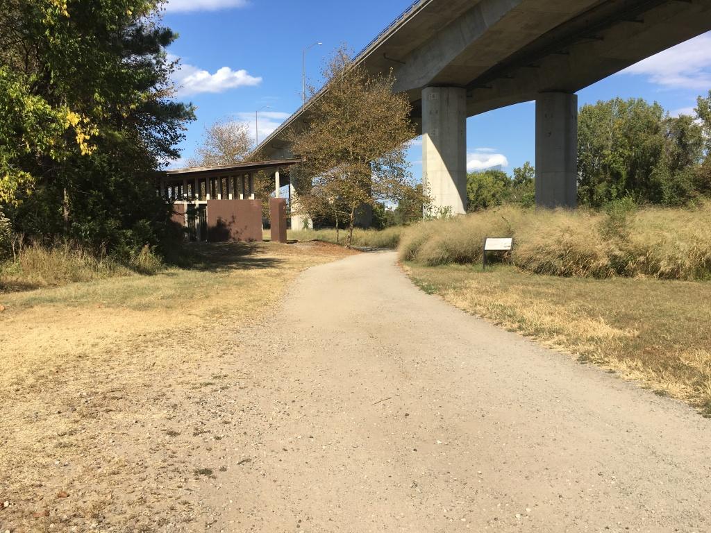 Path at Belle Isle underneath a bridge.