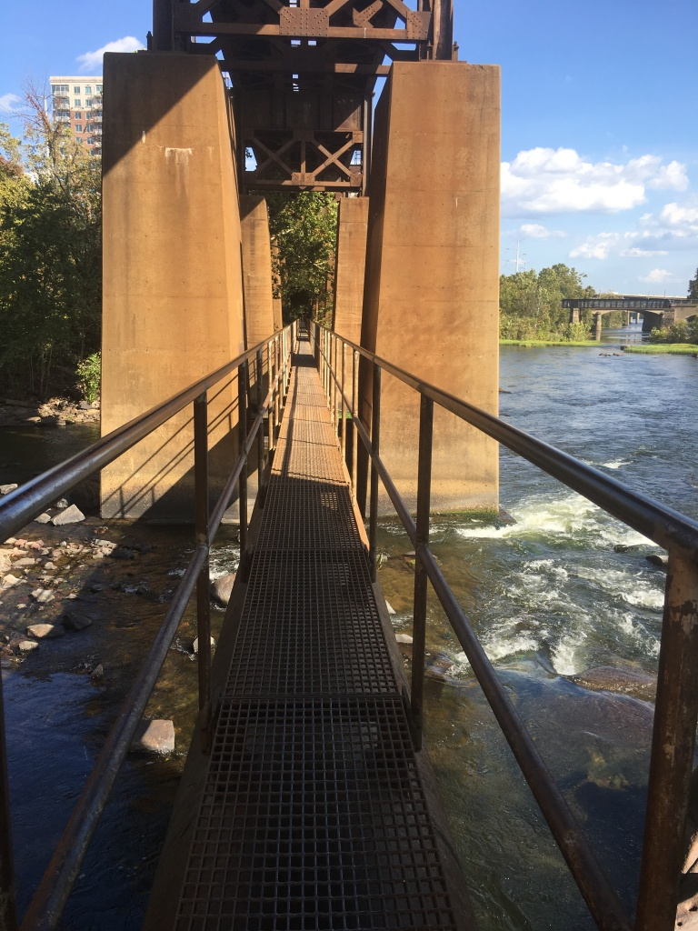 View of the pipeline grate path over the James River.