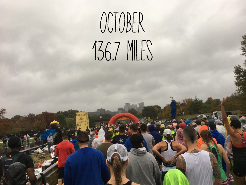 "Photo taken at the start of the Marine Corps Marathon on Oct. 27, 2019. About half of the photo is a cloudy sky, and it says ""October 136.7 miles."""
