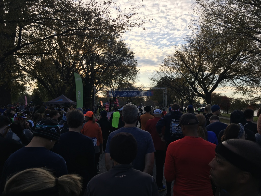 Photo taken from the starting corral of the Veterans Day 10K. Runners and trees can be seen in the photo.