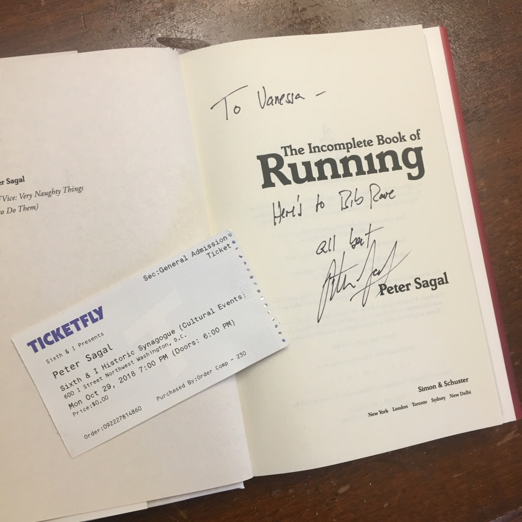 "Vanessa Junkin's signed copy of ""The Incomplete Book of Running,"" plus her ticket to his book tour."