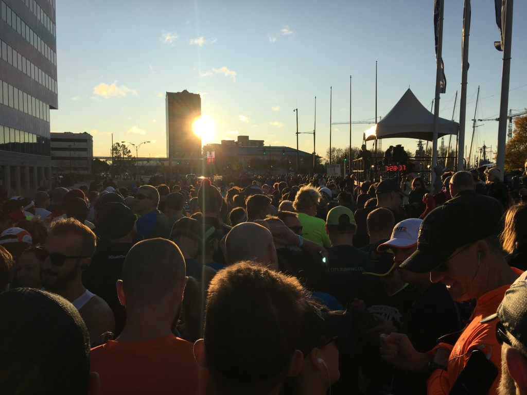 Runners in the starting corral at the Norfolk Harbor Half Marathon and 10K.