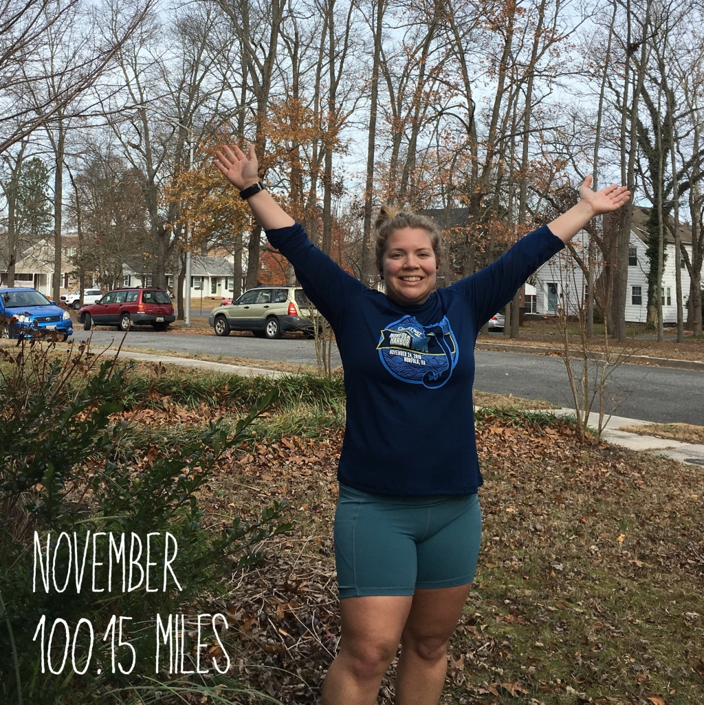 Vanessa poses with her hands up in victory after reaching 100.15 miles for the month of November.