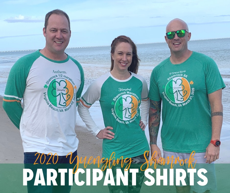 Three people show the shirts for this year's Yuengling Shamrock Marathon Weekend.