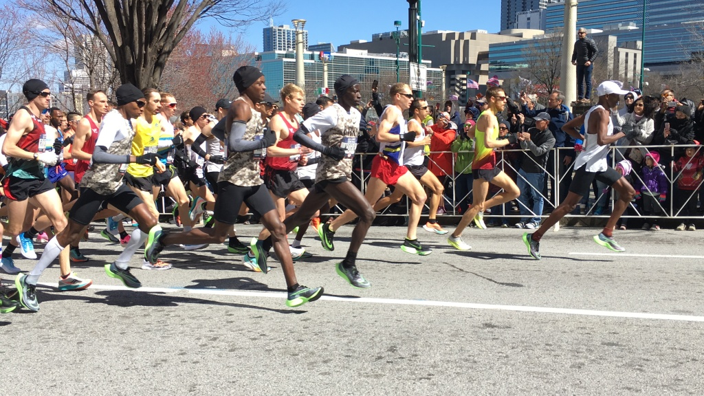 Start of men's race at Olympic Marathon Trials - group of men running.