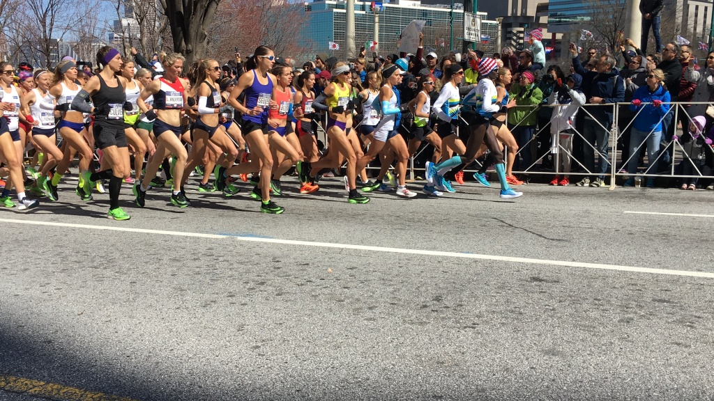 Start of women's race at Olympic Marathon Trials - group of women running.