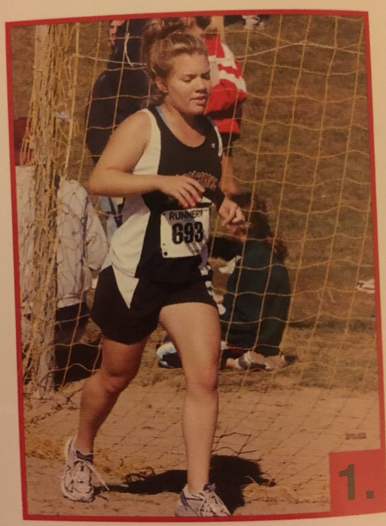 Photo of Vanessa Junkin running from 2007 in high school yearbook.