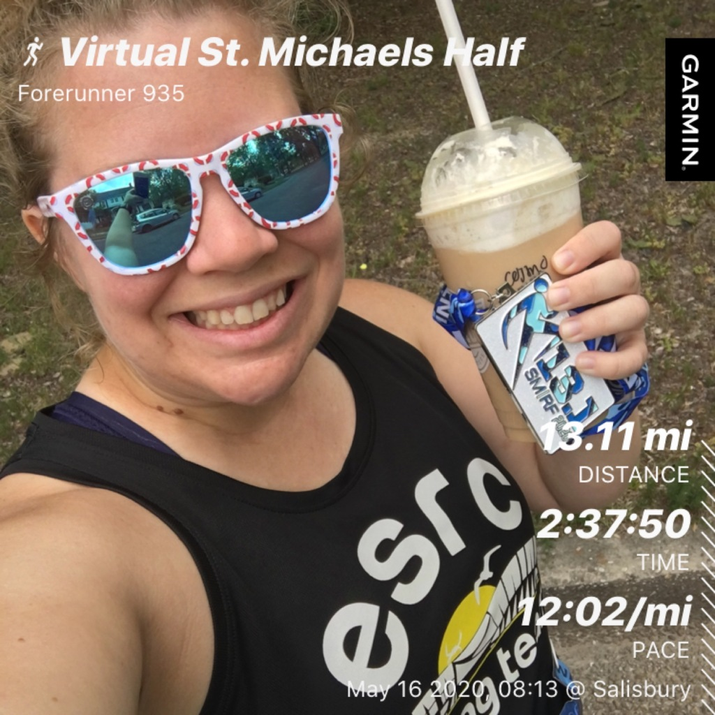 Photo of Vanessa Junkin holding medal and coffee smoothie with run stats: 13.11 mi distance, 2:37:50 time, 12:02/mi pace.