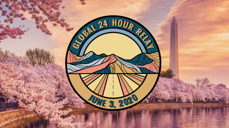Global 24 Hour Relay on top of pink scene from Washington, D.C.