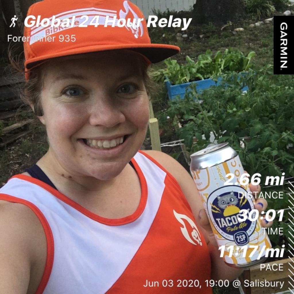 Selfie of Vanessa Junkin in orange BibRave hat and singlet holding a beer with the run information overlaying the photo (Global 24 Hour Relay, Forerunner 935, 2.66 mi, 30:01, 11:17/mi, Jun 03 2020, 19:00 @ Salisbury).