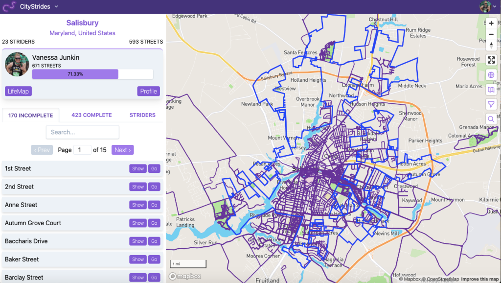 Screenshot of CityStrides website showing incomplete streets on the left side and a map of Salisbury, Maryland, with completed streets filled in in purple on the right.