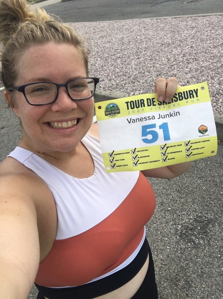 Vanessa Junkin poses with her Tour de Salisbury bib, with all the segments checked off.