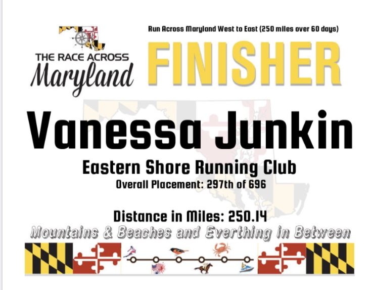 Race Across Maryland finisher certificate for Vanessa Junkin, Eastern Shore Running Club, Overall Placement 297th of 696, Distance in Miles: 250.14.