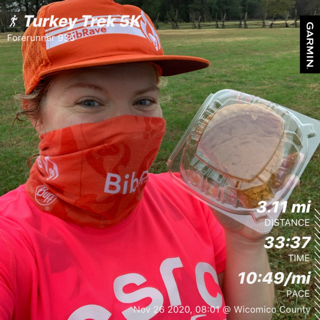 Selfie of Vanessa Junkin, wearing hat and Buff, holding a packaged piece of pumpkin pie. Text on photo says Turkey Trek 5K, 3.11 miles, 33:37, 10:49/mile.