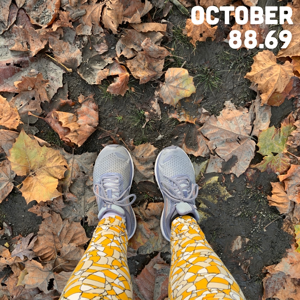 "View of lower legs/feet (running shoes and candy corn leggings) on a leafy ground background with the text ""October 88.69"""