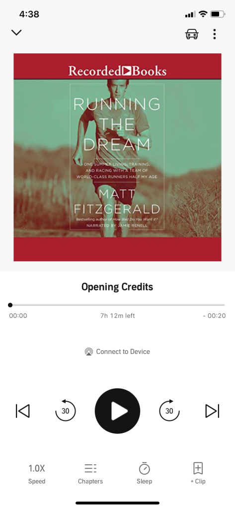 """Screenshot of Audible view of """"Running the Dream"""" by Matt Fitzgerald"""