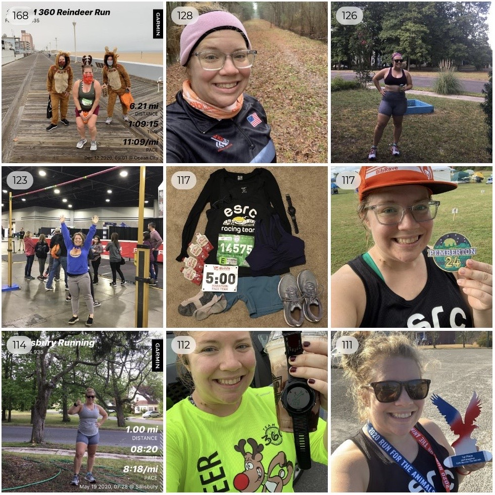 Top Nine photo showing nine different running-related photos in a square.
