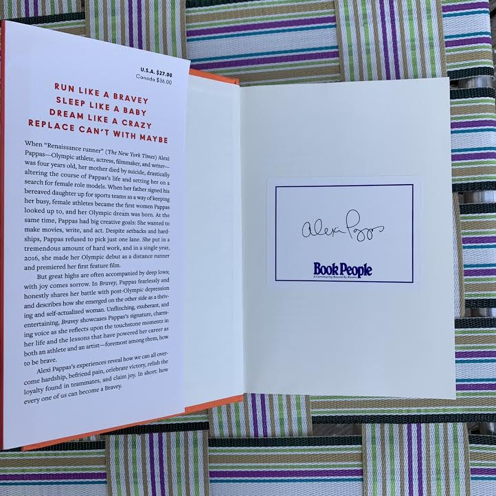 """Inside of """"Bravey"""" book, including book plate signed by Alexi Pappas."""
