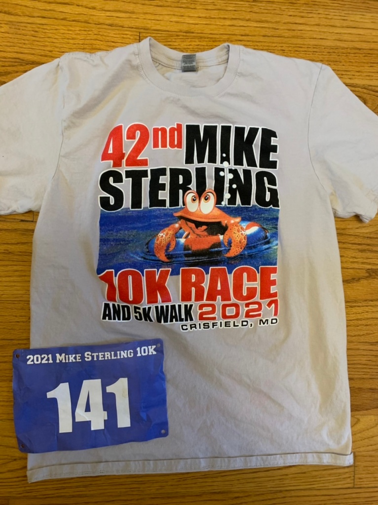 This year's Mike Sterling 10K race shirt, and my race bib.